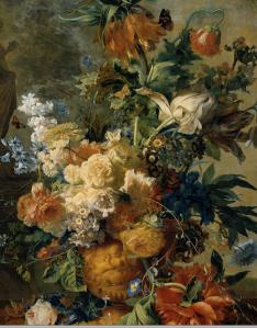 Jan van Huymun, Nederländernas främsta blomstermålare under 1600-talet och känd i hela Europa för sina fina stilleben. Detalj ur målning som finns på Riksmuseet i Amsterdam.